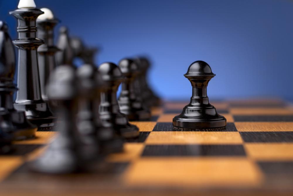 Pion dans une partie d'échecs.