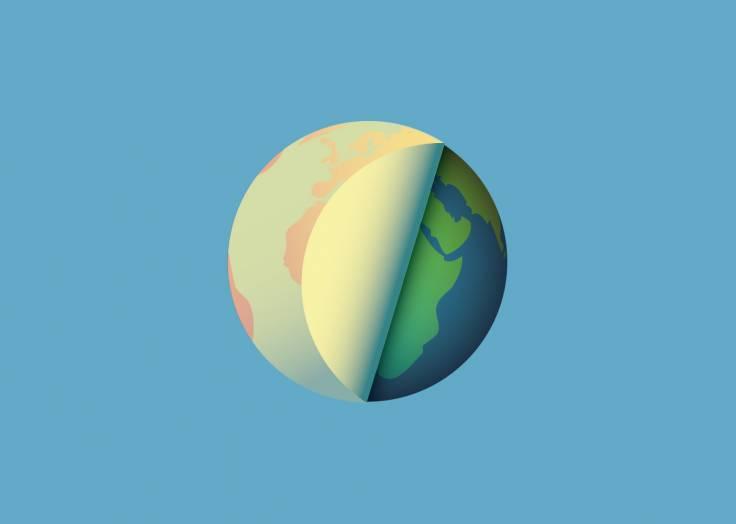 La planète Terre étiquette bleu ciel