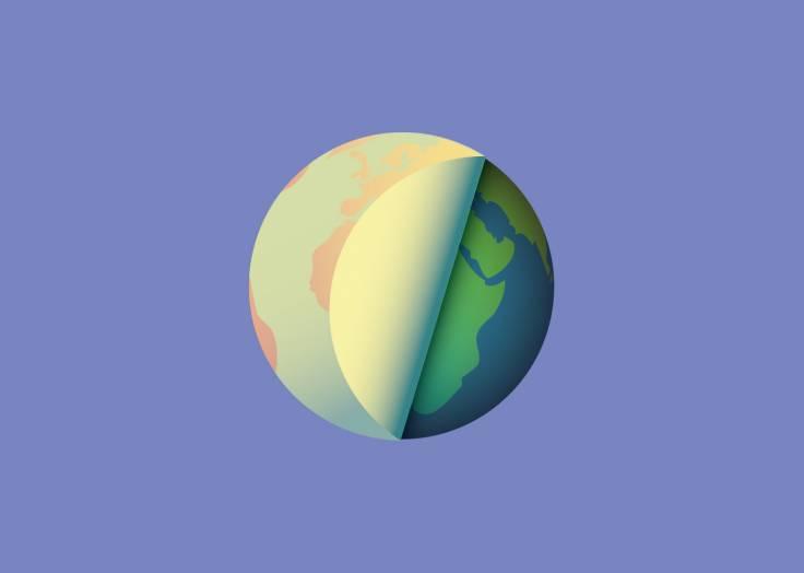 La planète Terre étiquette lavande