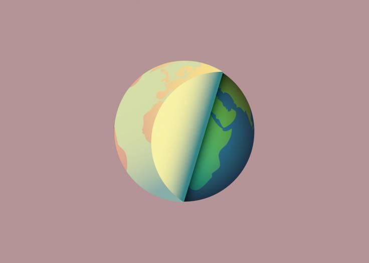 La planète Terre étiquette violet clair