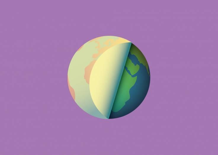 La planète Terre étiquette violet