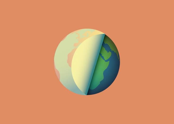 La planète Terre étiquette orange clair