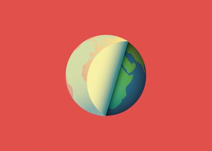 La planète Terre étiquette rouge