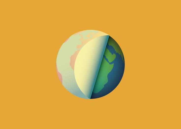La planète Terre étiquette orange