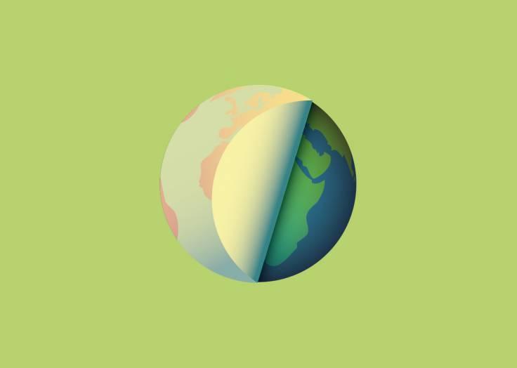La planète Terre étiquette verte
