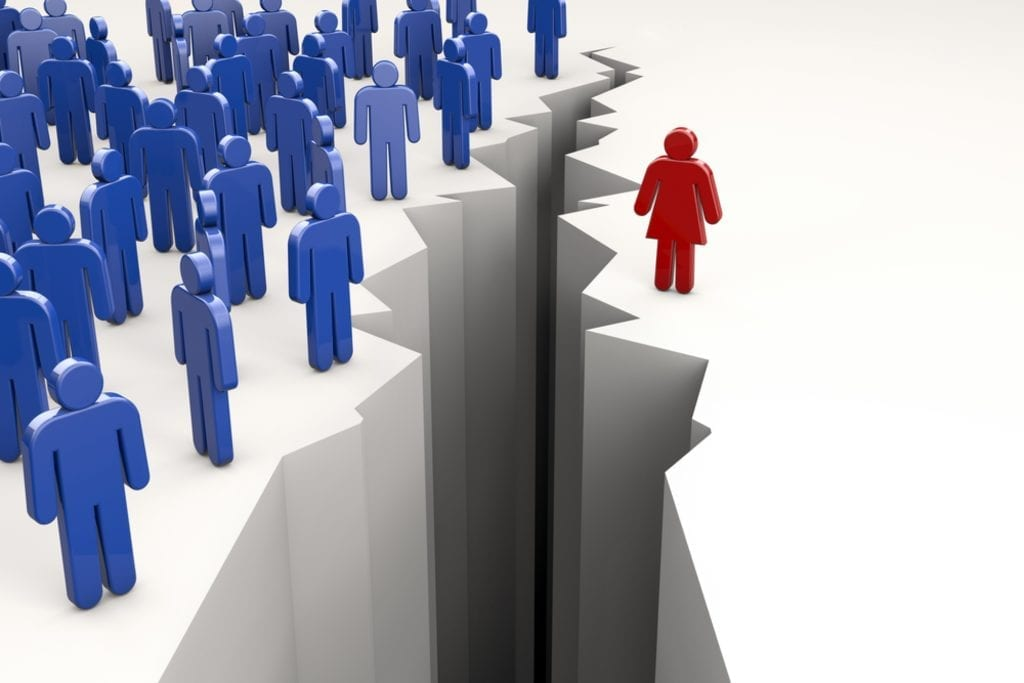 Fossé entre une femme et les hommes.